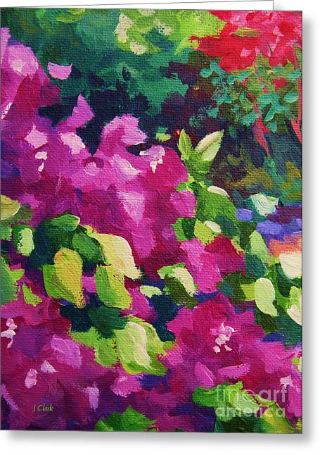 Abstract Expressionist Paintings Greeting Cards - Bougainvillea  Greeting Card by John Clark