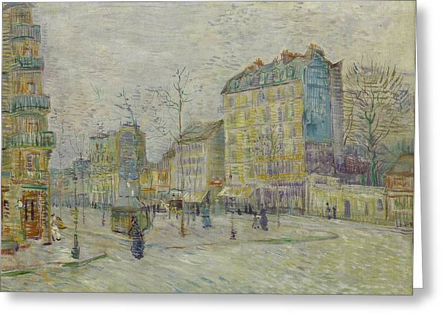 Rue Lepic Greeting Cards - Boulevard De Clichy Greeting Card by Vincent Van Gogh
