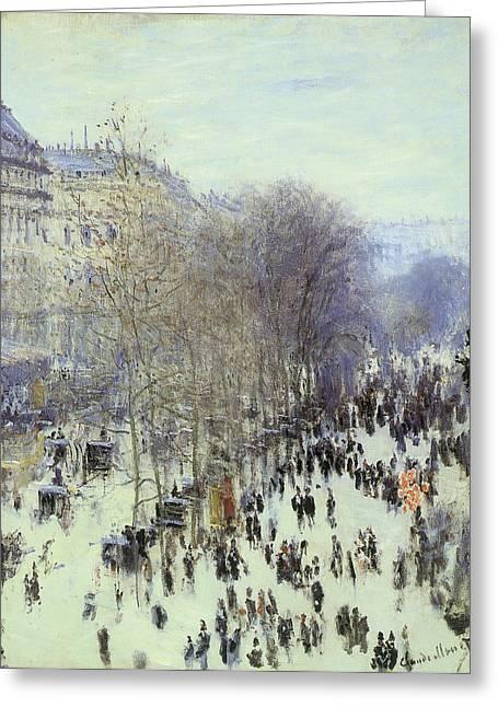 Boulevard Des Capucines Greeting Card by Claude Monet