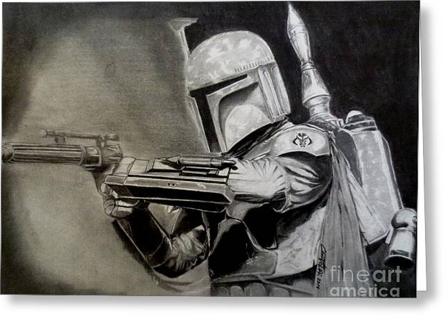 Jet Star Drawings Greeting Cards - Bounty Hunter - Boba Fett Greeting Card by Chris Volpe