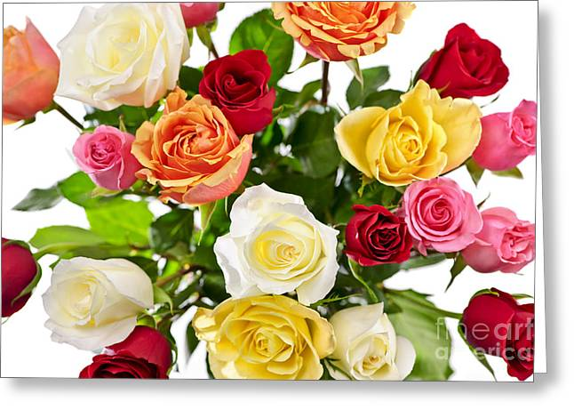 Colorful Roses Greeting Cards - Bouquet of roses from above Greeting Card by Elena Elisseeva