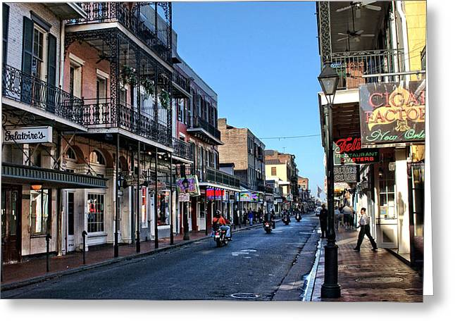 Orange Shirt Greeting Cards - Bourbon Street Afternoon Greeting Card by Greg and Chrystal Mimbs