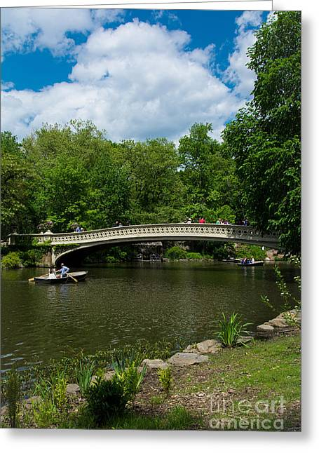 Rowboat Greeting Cards - Bow Bridge Central Park Greeting Card by Amy Cicconi