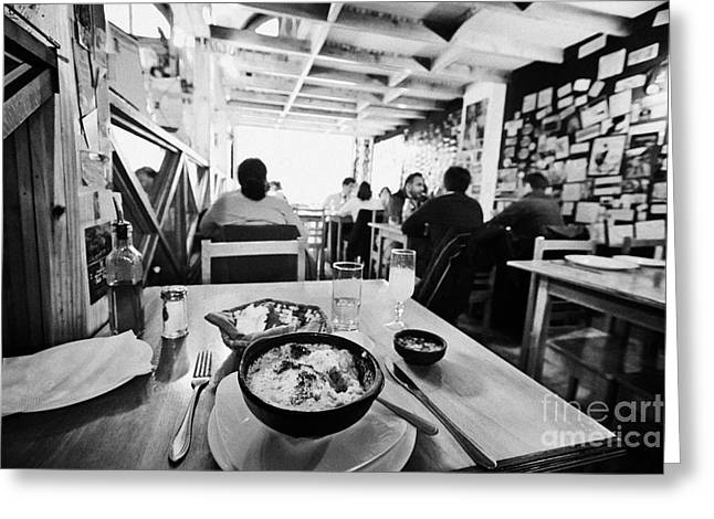 Local Restaurants Greeting Cards - bowl of baked king crab chowder chupe de centollo with pisco sour inside la luna restaurant Punta Arenas Chile Greeting Card by Joe Fox