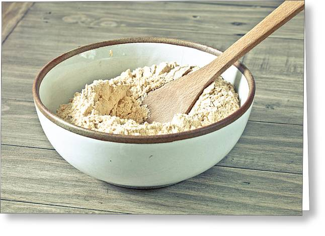 Baker Greeting Cards - Bowl of flour Greeting Card by Tom Gowanlock