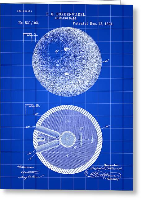 Curve Ball Digital Greeting Cards - Bowling Ball Patent 1894 - Blue Greeting Card by Stephen Younts