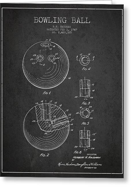 Technical Greeting Cards - Bowling Ball Patent Drawing from 1949 Greeting Card by Aged Pixel