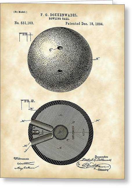 Curve Ball Digital Greeting Cards - Bowling Ball Patent 1894 - Vintage Greeting Card by Stephen Younts
