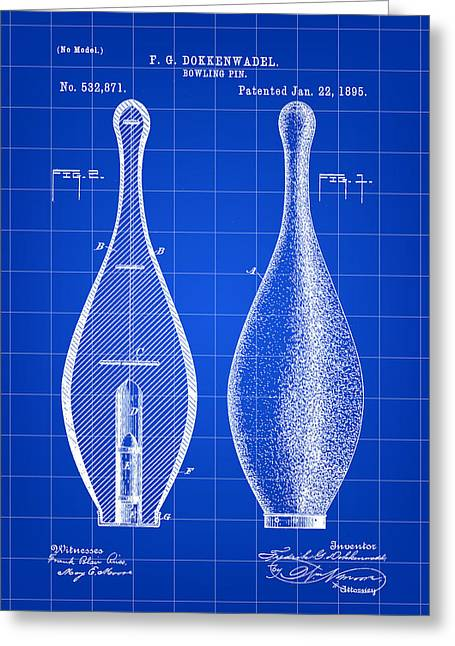 Curve Ball Greeting Cards - Bowling Pin Patent 1895 - Blue Greeting Card by Stephen Younts