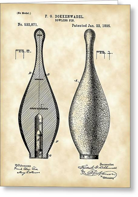 Curve Ball Greeting Cards - Bowling Pin Patent 1895 - Vintage Greeting Card by Stephen Younts