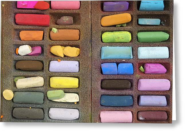Artist Photographs Greeting Cards - Box of pastels Greeting Card by Bernard Jaubert
