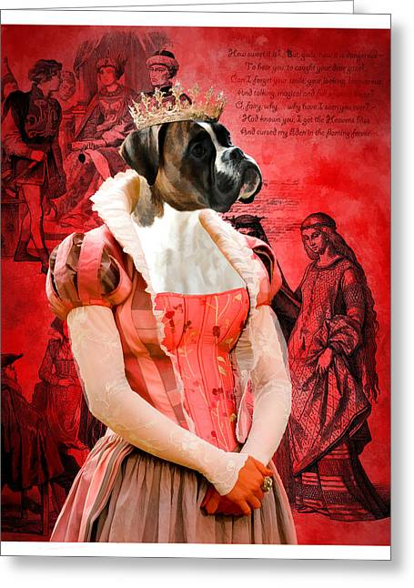Boxer Dog Art Print Greeting Cards - Boxer Art Canvas Print Greeting Card by Sandra Sij