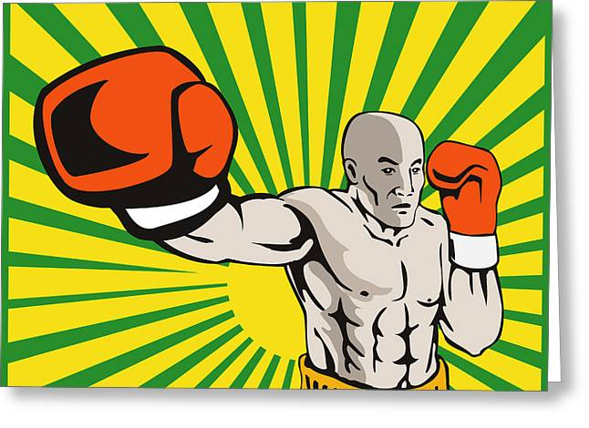 Boxer Digital Greeting Cards - Boxer Boxing Jabbing Front Greeting Card by Aloysius Patrimonio