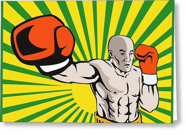 Boxer Boxing Jabbing Front Greeting Card by Aloysius Patrimonio