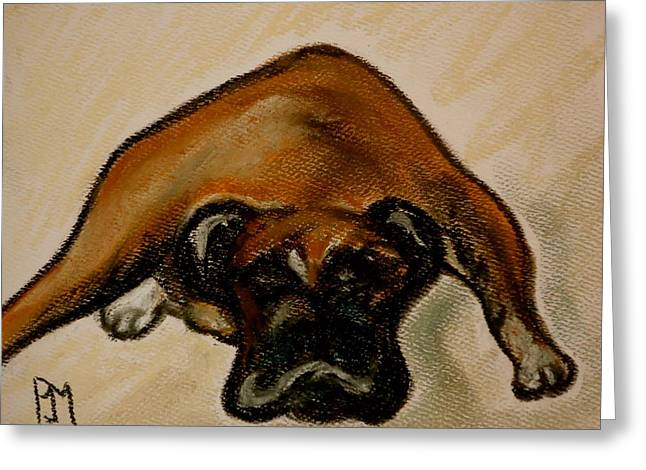 Boxer Down Greeting Card by Pete Maier