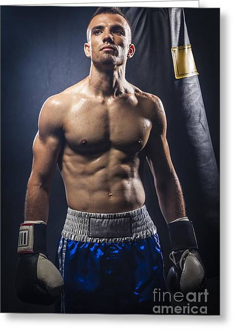 Boxer Greeting Card by Juan  Silva