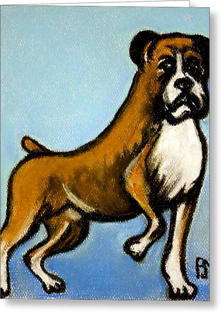 Pet Portraits Pastels Greeting Cards - Boxer Greeting Card by Pete Maier