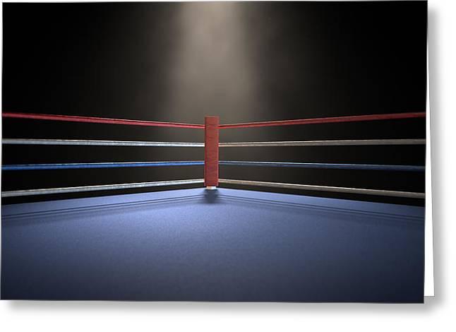 Boxing Rings Greeting Cards - Boxing Corner Spotlit Dark Greeting Card by Allan Swart