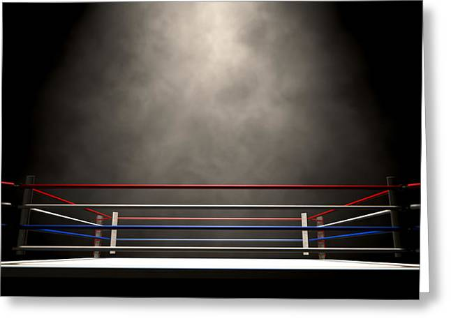 Sports Arenas Greeting Cards - Boxing Ring Spotlit Dark Greeting Card by Allan Swart