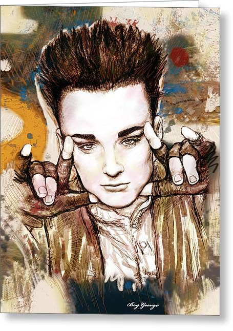 Drawing Of Soul Singer Greeting Cards - Boy George stylised drawing art poster Greeting Card by Kim Wang