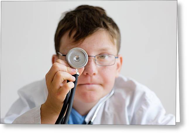 Boy Holding A Stethoscope Greeting Card by Gombert, Sigrid