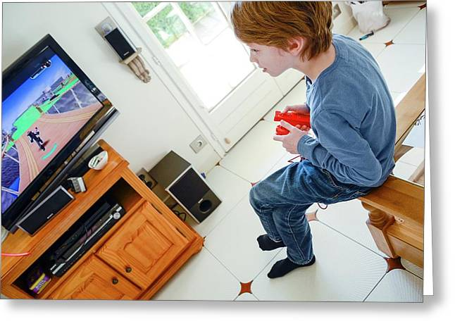 Boy Playing Wii Video Game Greeting Card by Aj Photo
