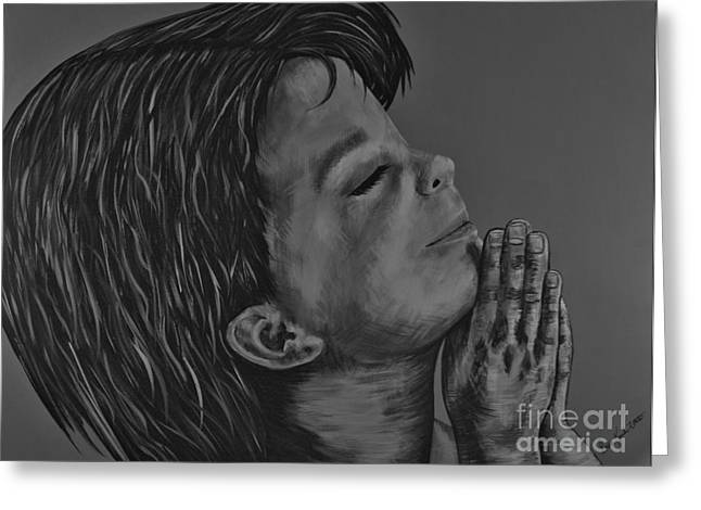 Boy Praying Greeting Cards - Boy Praying Greeting Card by Doreen Karales Zonts