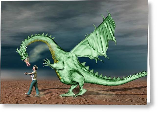 Boy With Pet Dragon Greeting Card by Carol & Mike Werner