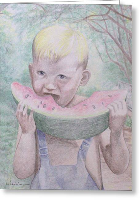 Watermelon Drawings Greeting Cards - Boy with Watermelon Greeting Card by Kathy Weidner