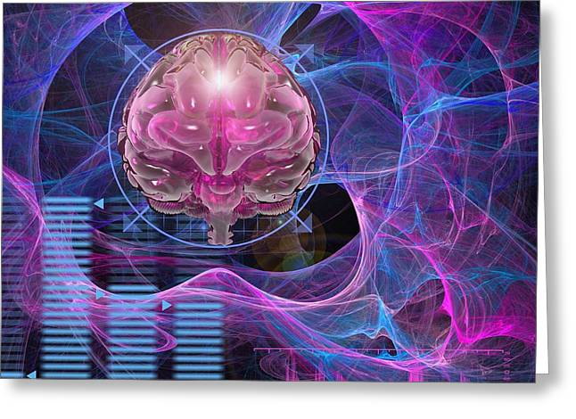 A.i. Greeting Cards - Brain activity, conceptual artwork Greeting Card by Science Photo Library