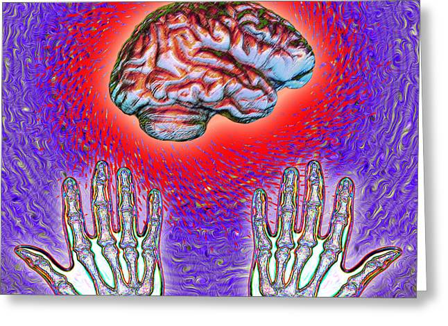 Brain Power Greeting Cards - Brain And Hands Energy Greeting Card by Dennis D. Potokar