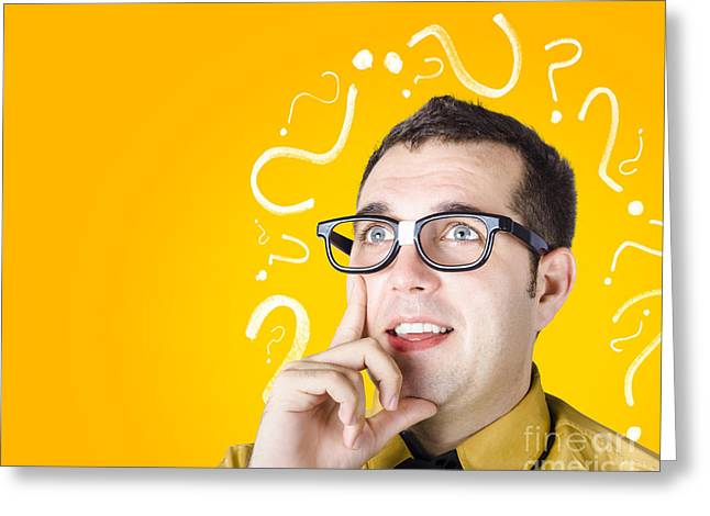 Troubleshooting Greeting Cards - Brainy man puzzle solving on question background Greeting Card by Ryan Jorgensen