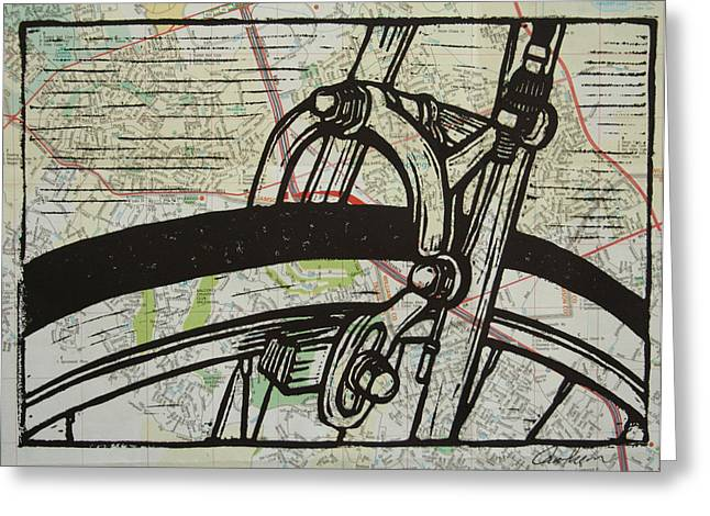 Linoluem Greeting Cards - Brake on Map Greeting Card by William Cauthern