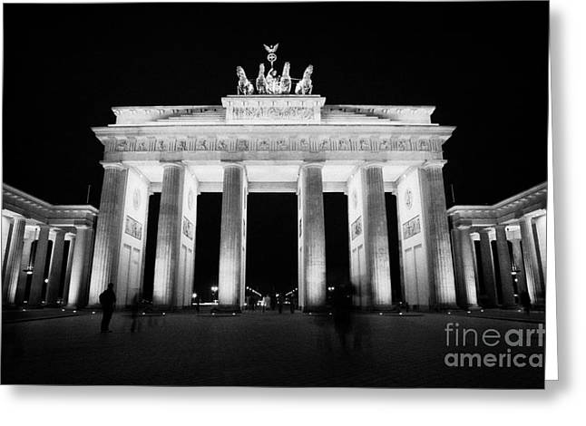 Berlin Germany Greeting Cards - Brandenburg gate at night Berlin Germany Greeting Card by Joe Fox