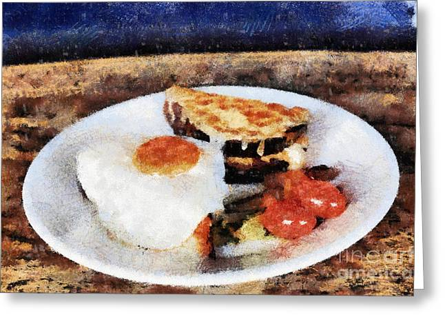 Breakfast Pyrography Greeting Cards - Breakfast Greeting Card by Yury Bashkin