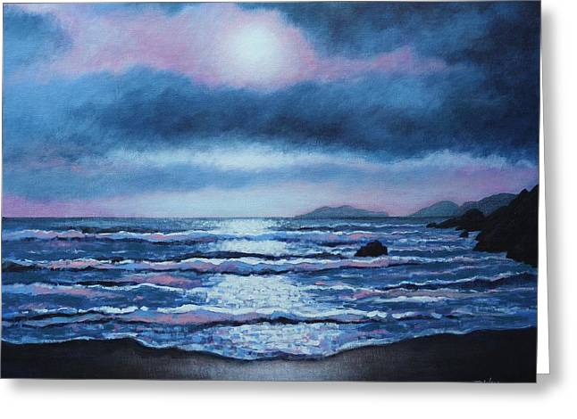 Acrylic Greeting Cards - Breaking Waves Coumeenole Beach Greeting Card by John  Nolan