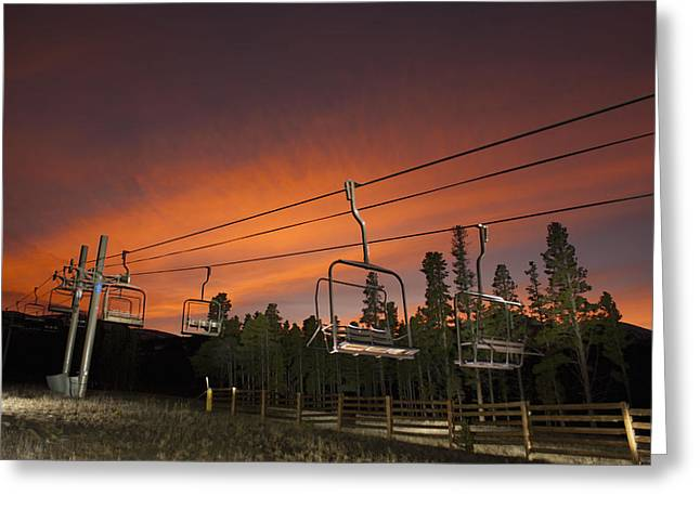 Breckenridge Chairlift Sunset Greeting Card by Michael J Bauer