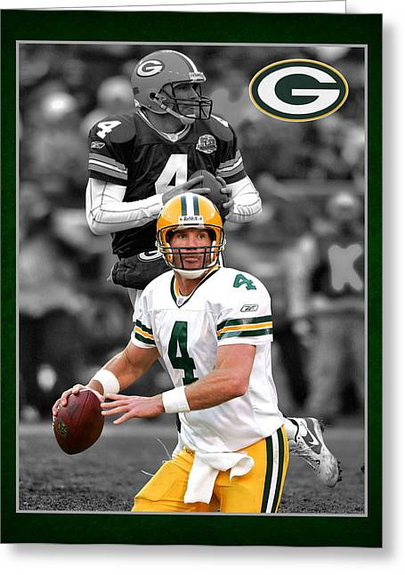 Field Goal Greeting Cards - Brett Favre Packers Greeting Card by Joe Hamilton
