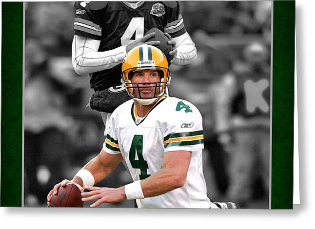 BRETT FAVRE PACKERS Greeting Card by Joe Hamilton