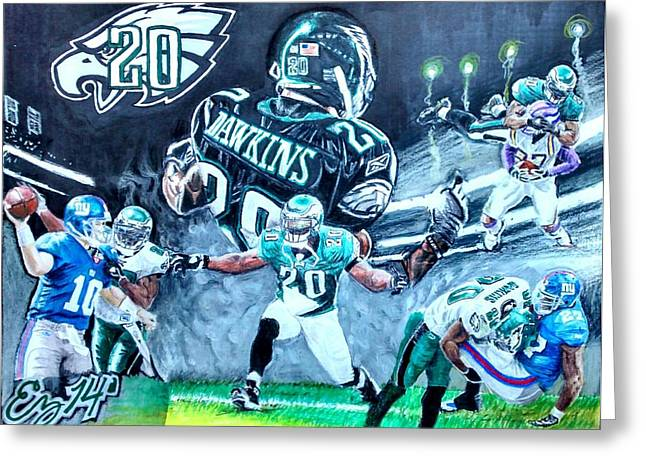 Brian Dawkins Greeting Cards - Brian Dawkins Greeting Card by Ezra Strayer