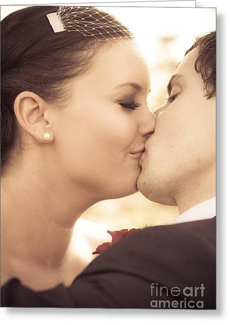 Bride And Groom Kissing Greeting Card by Jorgo Photography - Wall Art Gallery