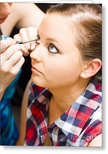 Bride Getting Eye Liner Makeup Applied Greeting Card by Jorgo Photography - Wall Art Gallery