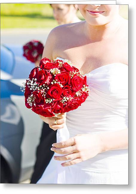 Bride Holding Red Rose Flower Bunch Greeting Card by Jorgo Photography - Wall Art Gallery