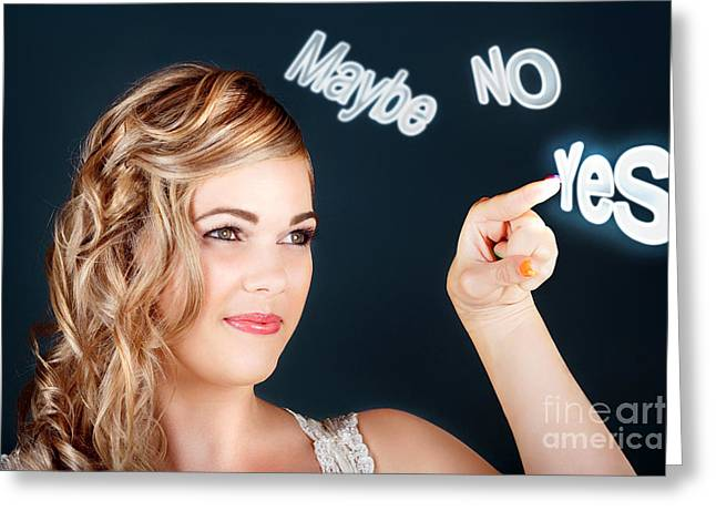 Bride Making Choice In A Marriage Proposal Concept Greeting Card by Jorgo Photography - Wall Art Gallery