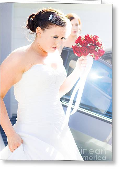 Concern Greeting Cards - Bride Running Fashionably Late Greeting Card by Ryan Jorgensen