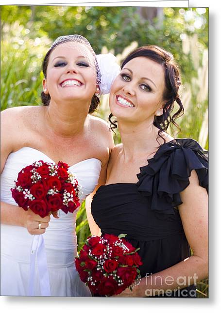 Off-the-shoulder Greeting Cards - Bride With Maid-Of-Honor Greeting Card by Ryan Jorgensen