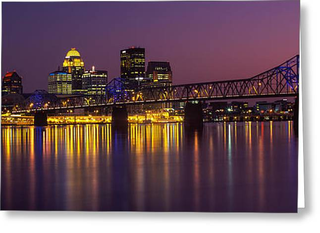 River Photography Greeting Cards - Bridge Across A River At Dusk, George Greeting Card by Panoramic Images
