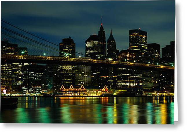 Augustus Greeting Cards - Bridge Across A River, Brooklyn Bridge Greeting Card by Panoramic Images