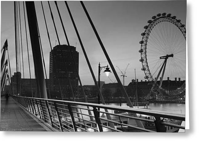Arts Culture And Entertainment Greeting Cards - Bridge Across A River With A Ferris Greeting Card by Panoramic Images