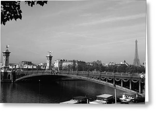 White River Scene Greeting Cards - Bridge Across A River With The Eiffel Greeting Card by Panoramic Images